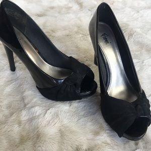Black Peep Toe Pumps - Fioni